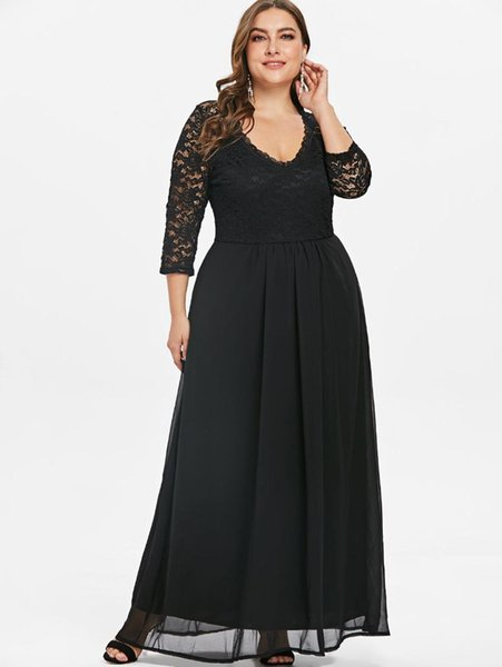 Wipalo Spring Plus Size Dress Vintage Solid Sweetheart Neck Lace Panel Maxi Dress High Waist A-Line Party Dresses Vestido Mujer