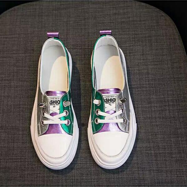 Chaussures Casual Flat Femmes Mode cuir colorés en plein air Chaussures de randonnée délicates Chaussures coréenne sauvages