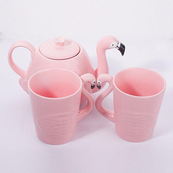 Rose Flamingo Mug Suit Céramique Eau Tasse Théière Cafetière Ensembles Tête D'oiseau Forme Poignée Cafetière PPA427