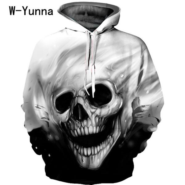 Новые череп печати 3d с капюшоном пуловеры полный рукав Зима Осень толстовки спортивные костюмы Couplewear женщины / мужчины кофты Y190812