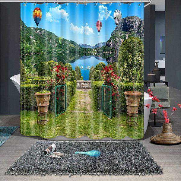 Cat 3D Animal Printed Shower Curtain Cartoon Animal Polyester Fabric Bath Curtain for Bathroom Decoration Shower Curtain