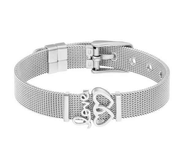 New fashion simple unisex 10mm wide charm heart-shaped mesh stainless steel strap jewelry bracelet wholesale