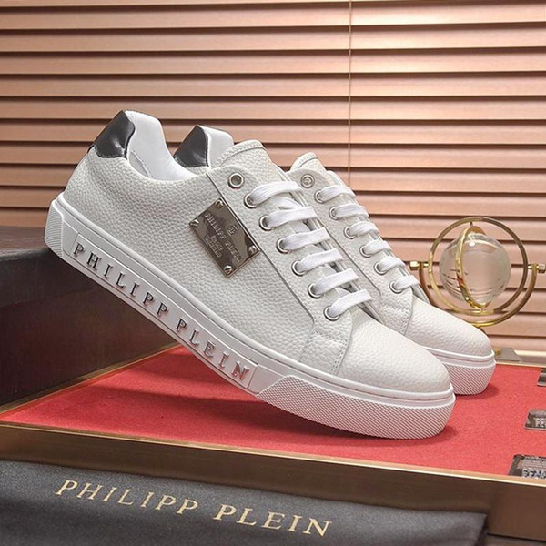 PhilippPleinPP 2019 Men Shoes Casual Luxury Big Size Fashion Lace-Up Breathable Flats Male Footwears Chaussures pour hommes Vintag