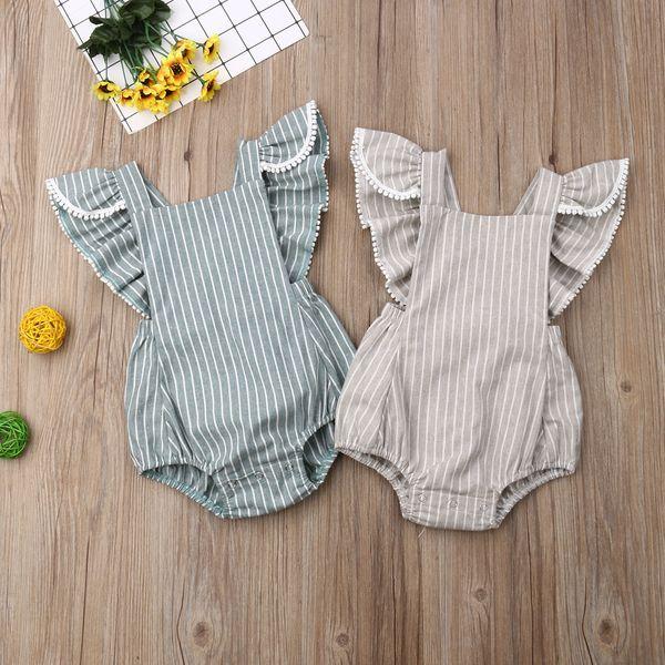 Pudcoco 0-24M neugeborene Kind-Baby-Kleidung Bodysuits niedliches Fliegen Ärmel Streifen Bodysuits Overall Outfit Größe 0-24M