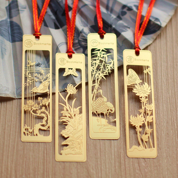 Golden Color Metal Bookmark - Hollow Out Plum Blossom Orchid Bamboo Chrysanthemum Classical Retro Style Alloy Bookmarks
