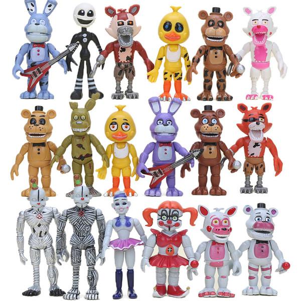 18 stücke Fnaf Pvc Action Figure Set Schwester Ort Chica Mangle Foxy Puppe Gold Freddy Fazbear Puppen Fünf Nächte Bei Freddy 's Spielzeug