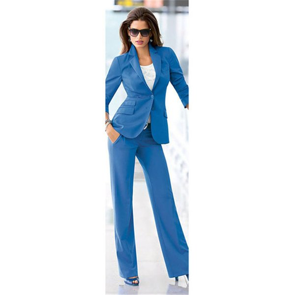 Women's high-quality solid color suit two-piece suit (jacket + pants) women's slim slimming support customization