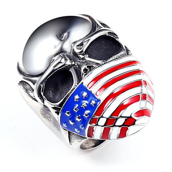 Nouvelle Arrivée en acier inoxydable Biker Anneaux Émail Américain US National Drapeau Masque Crâne Squelette Vélo Anneaux Pour Hommes s Bijoux De Mode