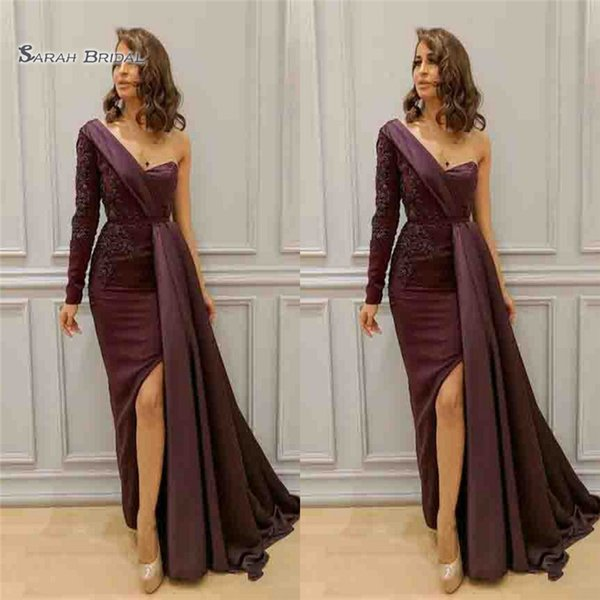 2019 Arabic Dresses Evening Wear One Shoulder Appliques Beads Split Side Formal Party Dress Sleeve Floor Length Zuhair Murad Long Prom Gowns