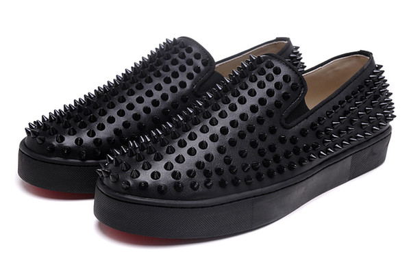 2019 fashion Studded Spikes Flats shoes For Men Women glitter Party Lovers Genuine Leather casual shoes Blue Red Black