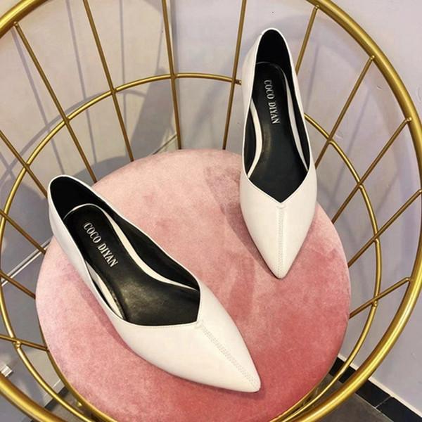 Fascinating2019 Tek Düz Alt Hakiki Deri Keskin Guangzhou bayan Ayakkabıları Anne Hamile Kadın Ayakkabı