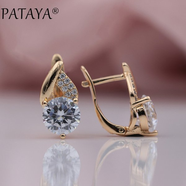 pataya new arrivals 585 rose gold flame type micro-wax inlay natural zircon big dangle earrings women wedding party cute jewelry