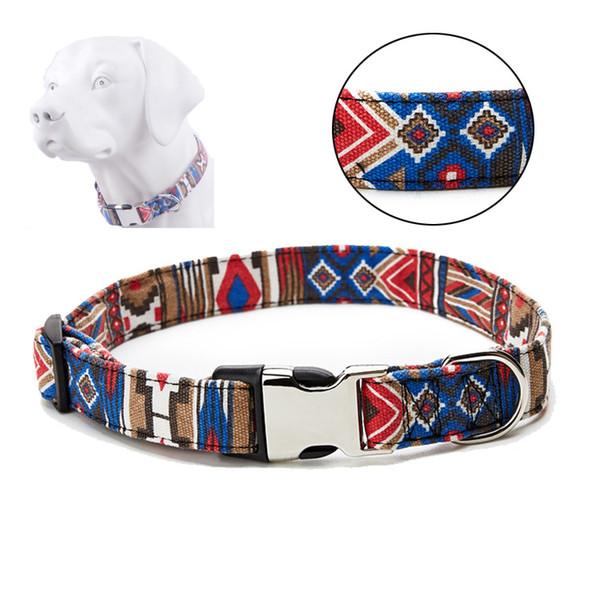 Fashion Ethnic Style Pet Collar S/M/L/XL Polyester Dog Collar With Metal Buckle Adjustable Large Dog Puppy Collar Pet Product DBC VT0839