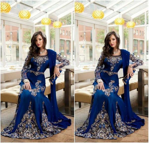 2019 Abiti da sera arabi musulmani di cristallo blu royal di lusso con abiti da ballo lunghi formali in pizzo attillato Abaya Dubai Kaftan