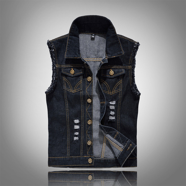Denim Vest Mens Jackets Sleeveless Fashion Washed Jeans Waistcoat Mens Tank Top Cowboy Male Ripped Jacket Plus Size 6XL