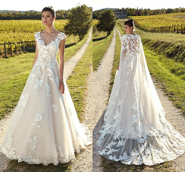 Light Champagne Elegant Capped Sleeves Wedding Dresses Sheer Neck Backless Tulle Lace Bride Gowns With Wrap Beach Garden Wedding Gowns
