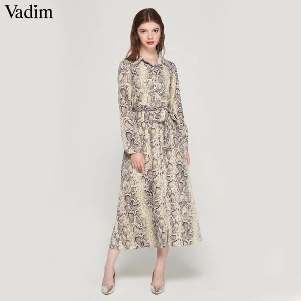 Vadim vrouwen yılan cilt patroon maxi jurken enkellange şerit jurk strikje sjerpen lange mouw rahat chic vestidos QA472