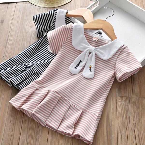 Perakende bebek kız elbiseler pamuk çizgili pileli kısa kollu kolej rüzgar ilmek elbise çocuklar rahat etekler çocuk moda giyim