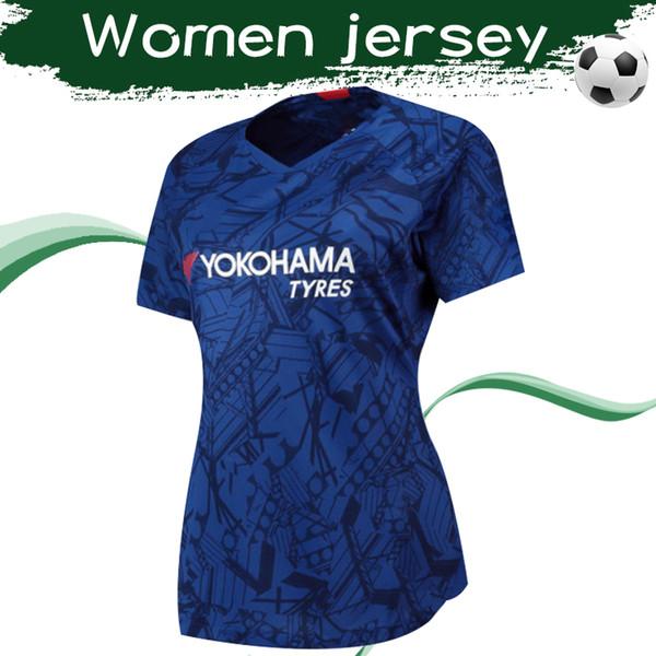 Женская майка 2019 # 10 WILLIAN Home Blue Soccer Jersey 19 20 Блюз # 22 PULISIC # 7 KANTE Продажа женских футболок