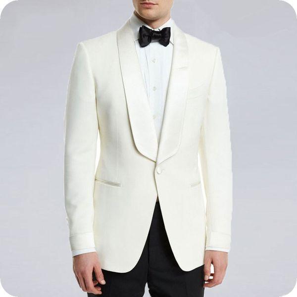 Beige Groom Tuxedo Men's Wedding Suits Shawl Lapel Custom Made Best Men Blazers Groomsmen Suit 2Piece Latest Coat Pant Designs Costume Homme
