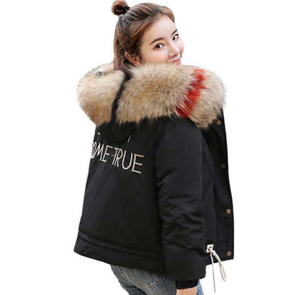 Winterjacke Parka Ycqz2 2018 Frauen Mode Breasted Mäntel Tasten Fell Casaco Von Gepolsterte Großhandel Mit Neue Kapuze Feminino Kurzmantel Baumwolle hQCrsBtdx
