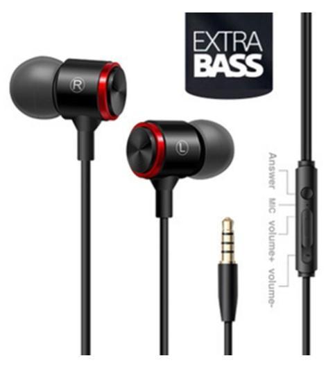 Happy Mobile phone wire headset extra bass straight line PC subwoofer earphones in-ear metal sports music phone earphone with Mic 1p