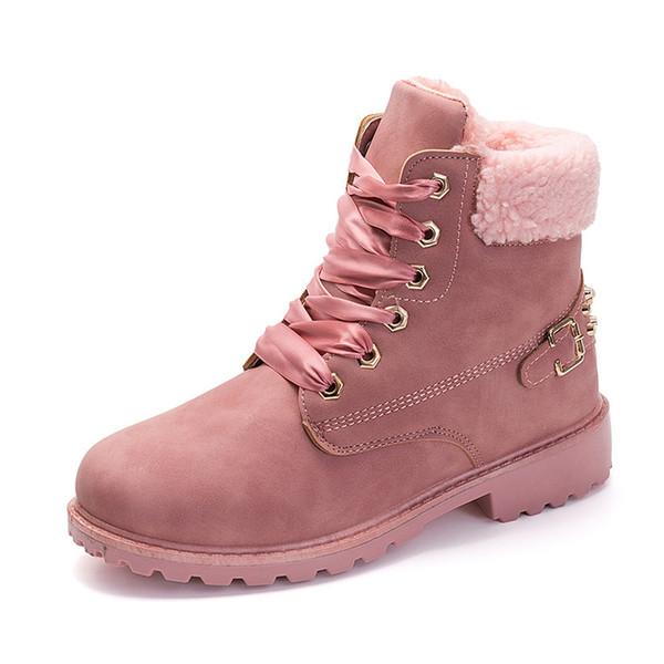DropshippingPink Mulheres Botas de Renda Até Sólida Ankle Boots Casuais Botas Dedo Do Pé Redondo Mulheres Sapatos de Neve de Inverno Quente C estilo