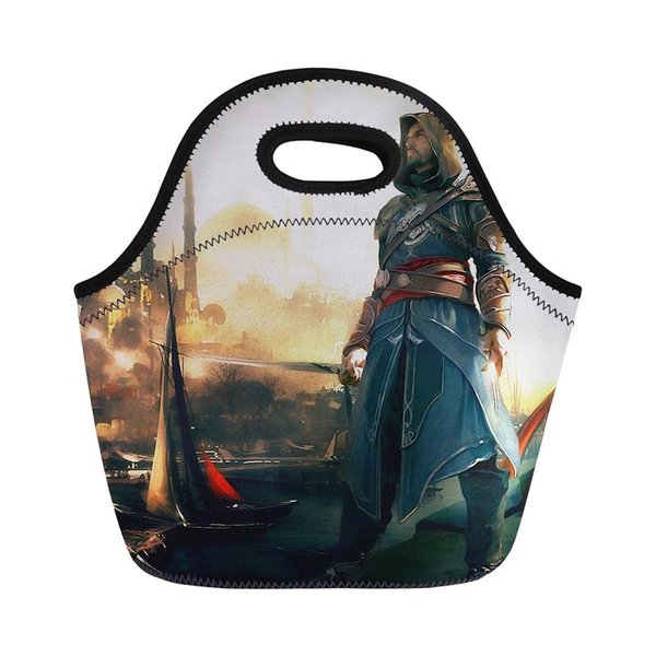 Assassins Creed Action Figure Children Thermo Neopren Lunch Bag Girls Kids Boys Lunchbox Bag Insulated Picnic Case Lancheira