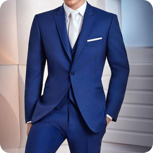 Royal Blue Wedding Suits for Men Suits Man 2Pieces Peaked Lapel Best Man Grooms Wear Slim Fit Formal Tuxedos Blazer Prom Terno Masculino