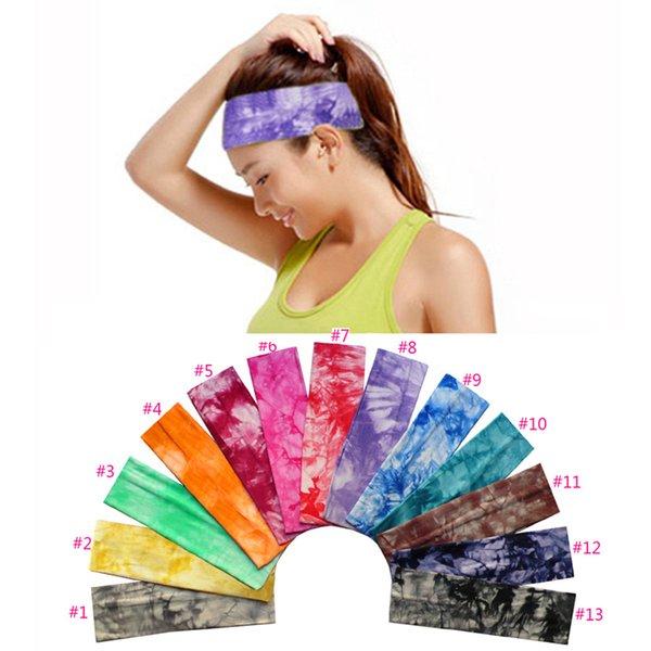 6 * 20 cm 13 cores Tie-Dye algodão esportes Headband floral Yoga Hairbands Run corda de algodão elástico Absorva Sweat Head Band ZZA1007