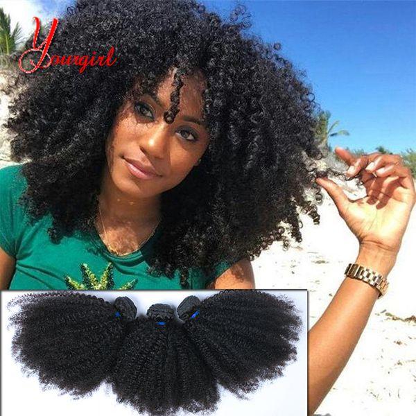 Raw Grade 8A Indian Afro Kinky Bouclés 3 Bundle Non Transformés Vierge Humaine Ondulée Cheveux Bouclés 8-28 Pouces Naturel Couleur Tissage Machine Double Trame