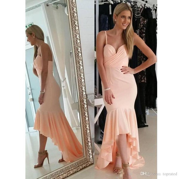 Cheap high low Mermaid Bridesmaid Dresses Spaghetti Strap Chiffon Country Maid of honor Dress Asymmetrical Hem Prom Gowns Vestido De Noiva