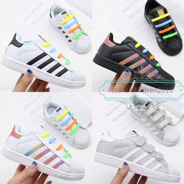 cheap for discount c31d5 5a474 Brand Superstar Kids Shoes Original White Black Rainbow Baby Superstars  Sneakers Originals Super Star Girls Boys Sports Children Shoes 22 35 Baby  ...