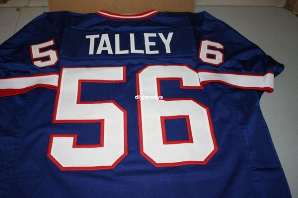Retro pas cher DARRYL TALLEY # 56 CUSTOM Top S-5XL, 6XL HOME MITCHELL NESS Jersey BULE couture Maillots de football pour hommes en cours d'exécution