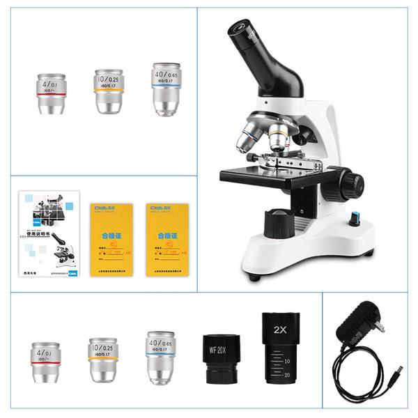 CIWA 1600X professionale Microscopio biologico binoculare HD Esperimento di scienza illuminazione a LED binocolo monoculare Microscopio