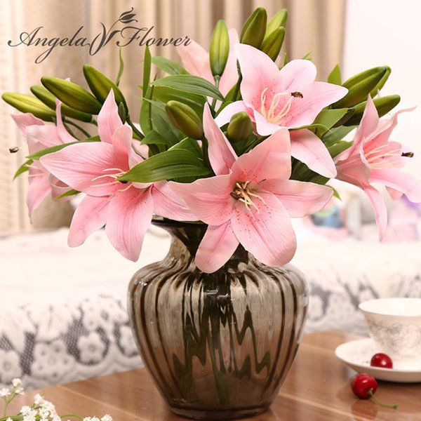 Hi-q 11pcs 3 Heads Real Touch Pvc Artificial Lily Silk Decorative Flower For Wedding Decoration Christmas Gift Q190522