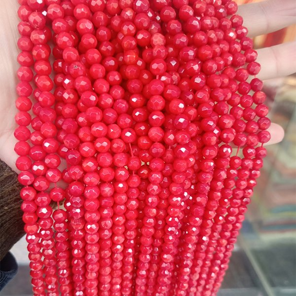best selling High Quality 6mm Round Faceted Natural Red Coral Beads For DIY Jewelry Making Accessories Loose Coral Beads Strand 15''
