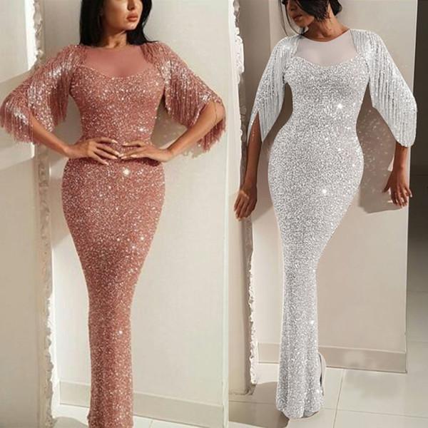 Délicat événement spécial robe strass bling bling paillettes anniversaire robes de mariage Fishtail robe Vêtements Scène d'été Boîte de nuit Robe