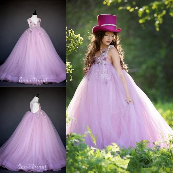 Lavendar Puffy Flower Girls Dresses For Wedding V Neck Lace Beads Backless Princess Kids Pageant Gowns Evening Party Formal Dress