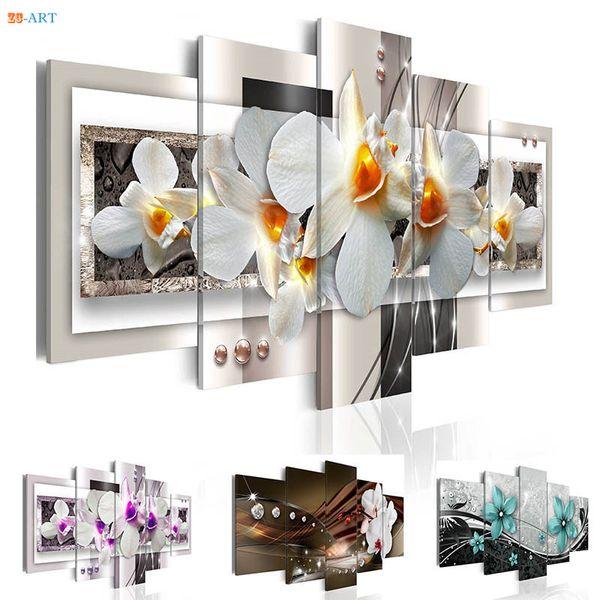Orchidées Fleurs Prints Peinture Murale 5 Pièces Affiche Florale Moderne Toile Art Images Modulaires pour Salon Décor À La Maison