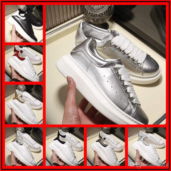 DesignersLuxurious Brand white black leather casual shoes for womens men pink gold red fashion comfortable flat sneakers on sale