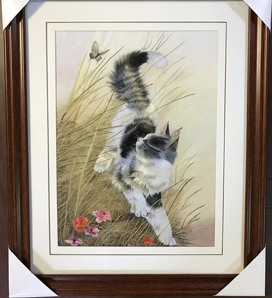 Handmade Art Crafts 100% Mulberry Silk Thread Finished Suzhou Embroidery not include frame ,home decor cat and butterfly ,30*35cm