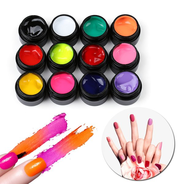 5ML Nail Art Gel Paint Draw Painting Acrylic UV Gel DIY Colored Nail Art Tips Draw Polish Beauty Manicure 12 Colors