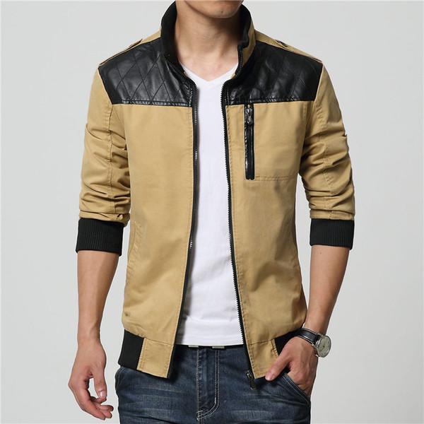 Hombre couro patchwork outwear 2019 homens outono jaquetas casacos jaqueta masculina masculino causal moda slim fit jaqueta com zíper