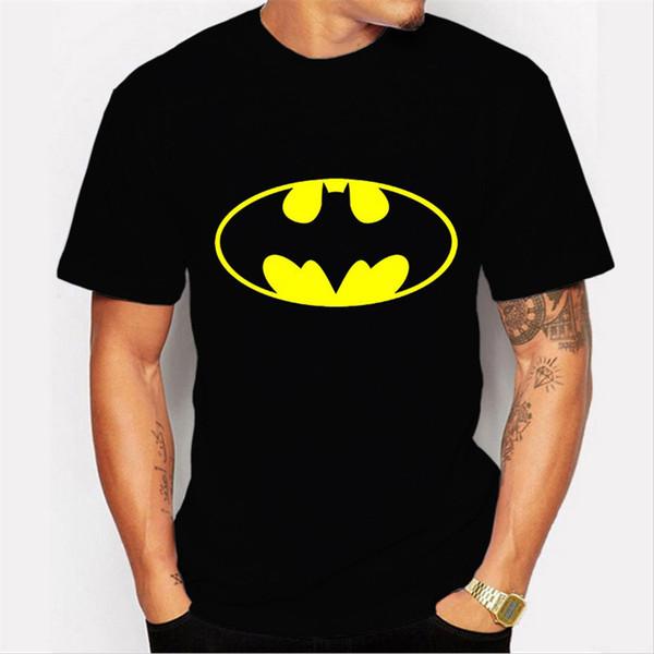 Mens Bat Pattern Designer Tshirts Preto Moda Verão Bonito Tops Manga Curta Tees