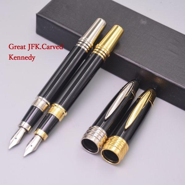 best selling Luxury Stationery JOHN F. KENNEDY 18K Fountain Pen Black Resin Silver JFK Clip Pen Office Supplies Gift