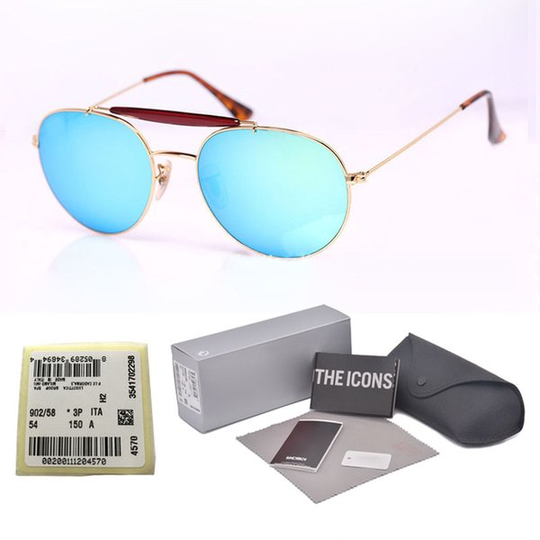 High Quality (Glass Lens) Sunglasses Women Men Brand Designer Double Bridge Metal Frame oculos de sol with Retail cases and label