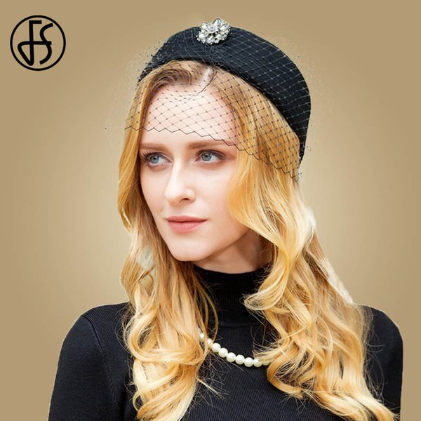 FS British Black Wool Pillbox Hat For Women With Veil Fall Winter Wedding Fascinator Hats Vintage Ladies Formal Felt Cap