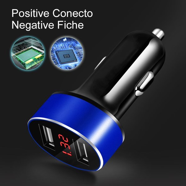 Dual USB Car Charger 5V 2.4A Car Charger For Cell Phone Auto Quick Charge Red LED Screen Display Usual For Car Truck