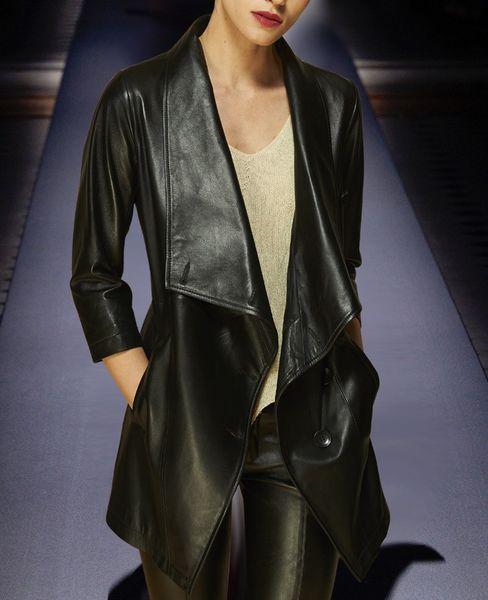Autumn Women Casual PU Leather Jacket Classic Zipper Motorcycle Long PU Jackets Black Soft Leather Basic Coat